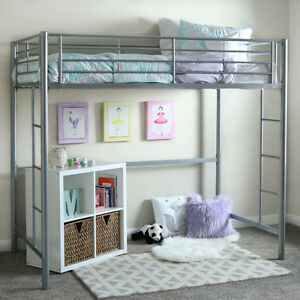 loft bed metal frame twin size bunk space save