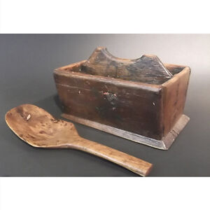 Early Wooden Cutlery Tray With Matching Ladle.
