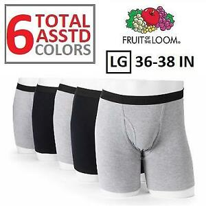 NEW 6PK BOXER BRIEFS MENS LG 256313322 FRUIT OF THE LOOM SIGNATURE BLACK GRAY 36-38 IN