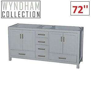 NEW WYNDHAM BATH VANITY CABINET WCS141472DGYCXSXXMXX 219547071 SHEFFIELD 72'' DOUBLE GREY