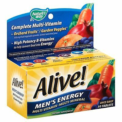 Alive Vitamin (Alive! Mens Energy Multi-Vitamin Multi-Mineral Once Daily Tablets 50ct Box 07/20)
