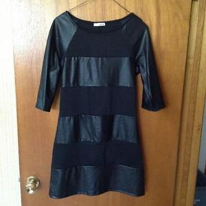 Black pleather and cotton tunic