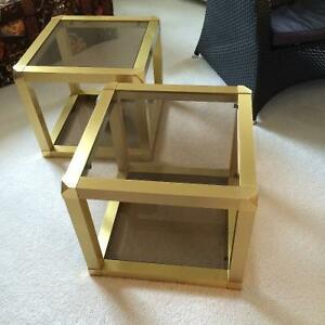 Brass and Glass Cube Coffee Tables