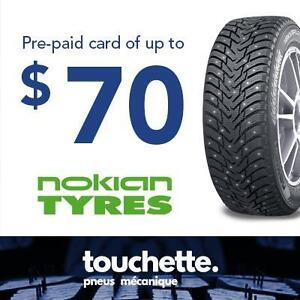 Pre-paid card of up to 70$ with the purchase of 4 selected Nokian tires