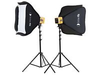 Four Interfit Honey Badger Studio flashes complete with Softboxes and Stands