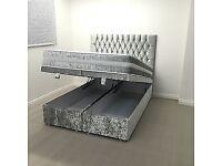 Double Ottoman crush velvet storage bed frame only