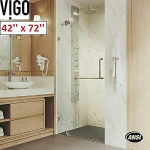 NEW VIGO FRAMELESS SHOWER DOOR VG6042BNCL42 209500989 PIROUETTE 42'' x 72'' CLEAR GLASS