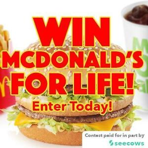 Free Online Contest to Win a $500 to $1,000 Gift Card at McDonald's for LIFE! Paid for by McDonald's and Seecows!