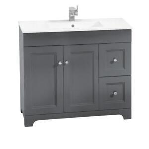 Vanité 2 portes 2 tiroirs avec lavabo en marbre synthétique, Luxo Marbre