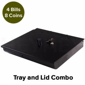 Brand New 4 Bills 8 Coins Spare Cash Tray Black & Lockable Lid
