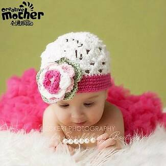 Baby Girls Knitted Crochet Cap Beanie Flower Hats Photo props