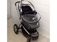 BLACK - Mothercare MY4 Combi Pushchair with Rain Cover with 2 NEW SPARE Wheels