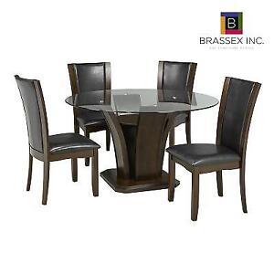 NEW BRASSEX 5PC DINING SET 7154-54 140809449 AMBROSE COCOA FINISH