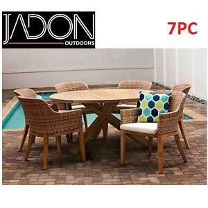 NEW JADON INDO 7PC DINING SET - 118185137 - 6 CHAIRS AND ROUND CROSS BASE DINING TABLE