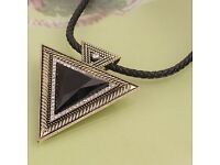 Triangle rope statement necklace gold or silver brand new Christmas xmas