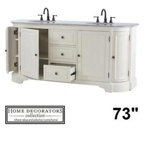 "NEW DAVENPORT 73"" DOUBLE VANITY - 130777272 - DISTRESSED WHITE GREY GRANITE TOP VANITIES BATHROOM BATH CABINET CABINETS"