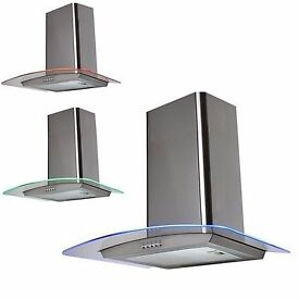 60cm Curved Glass Stainless Steel LED Cooker Hood Kitchen Extractor Fan