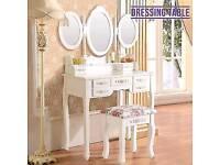 Retro Dressing Table 7 Drawers Stool White 3 Mirrors Vanity Makeup Desk