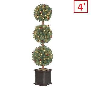 NEW 4' ARTIFICIAL CHRISTMAS TREE 611947 212329439 Pre-Lit Hudson Topiary w/ Clear Lights and Pin