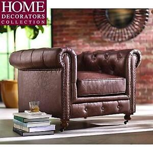 NEW* DHC GORDON BROWN LEATHER CHAIR - 128984126 - CASTERS ON FRONT LEGS