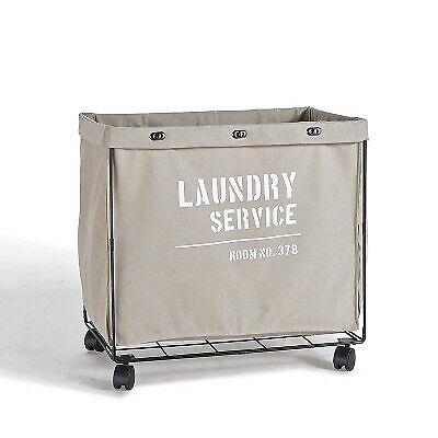 Danya B. Army Canvas Laundry Hamper on Wheels Mohave Earth