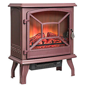 Brown 20 Freestanding Portable Electric Fireplace Firebox 3d Flames