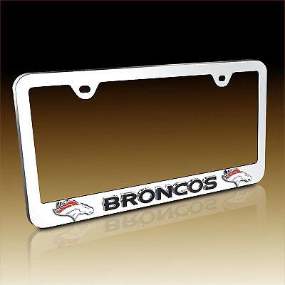 NFL Denver Broncos 3D Logo Chrome Metal License Plate Frame Denver Broncos 3d License Plate