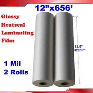 "2Rolls 12.5""x656' Bopp Glossy Laminating Film  #026601"