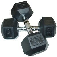 NEW!! 2 x 30lbs rubber hex dumbbells