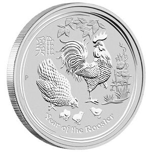 Perth mint year of rooster 5 oz silver proof coin