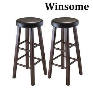 2 NEW WINSOME 29'' BAR STOOLS MARTA ROUND BAR STOOLS -ANTIQUE WALNUT FINISH - PU LEATHER CUSHION SEAT 102869700