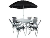 6 seater garden patio set with parasol! NEW outdoor summer furniture