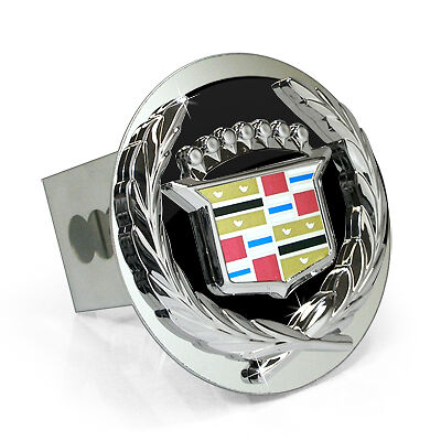 - Cadillac Classic 3D Black Infill Logo Steel Tow Hitch Cover Plug