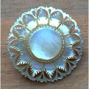 Vintage hand carved mother-of-pearl brooch