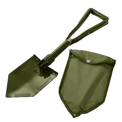 A folding shovel is compact and ready for the mud.