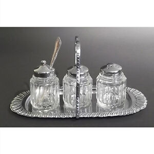 Art Deco Pressed Glass Condiment Set With Carrier.