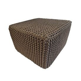 Square knitted pouffe
