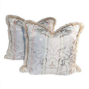 Pair of antique silk damask down pillows