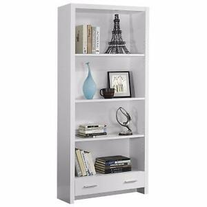 Monarch Specialties White Hollow-Core Bookcase with a Drawer, 71-Inch WHITE NEW