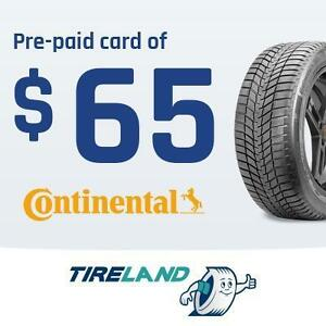 Pre-paid card of 65$with the purchase of 4 selected Continental tires