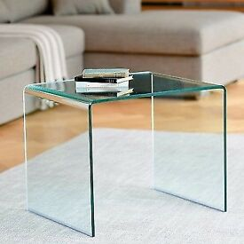 Modern DWELL Puro Glass Side / Coffee Table - Clear (As new, never used!)
