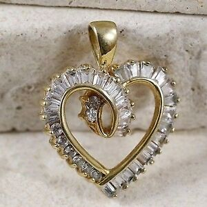 Sterling Silver Gold Plate CZ Baguette Heart Drop Pendant(#7.21)