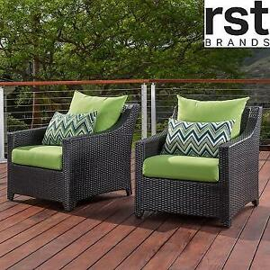 2 NEW RST BRANDS PATIO CLUB CHAIRS OP-PECLB2-GNK-K 139034728 GINGKO GREEN CUSHIONS