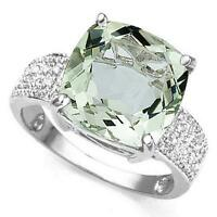 LIGHT GREEN AMETHYST & 16 DIAMONDS CRAFTED IN STERLING SI