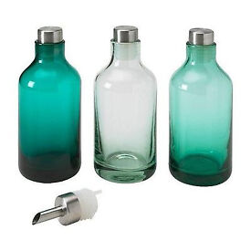 IKEA limmaren - 3 Glass Bottles with 1 bottle spout - Brand new in box