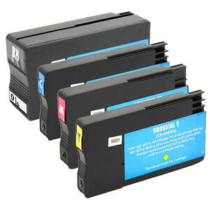 4 Pack 950XL 951XL Bk & Color Ink Cartridge Fits HP Officejet