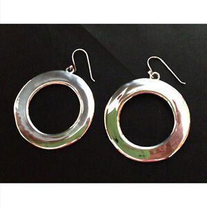Vintage sterling hoop earrings for pierced ears