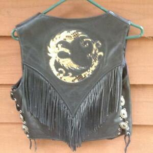 Ladies fringed leather vest