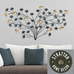 NEW STRATTON FLOWER WALL DECOR ELEGANT BLOOMING FLOWERS - TEAL AND GOLD 105256813