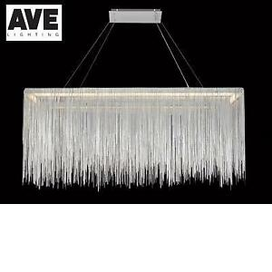 NEW* AVENUE CHROME CHANDELIER HF1201-CH 225917171 JEWELLERY CHAIN HANGING CEILING LIGHT